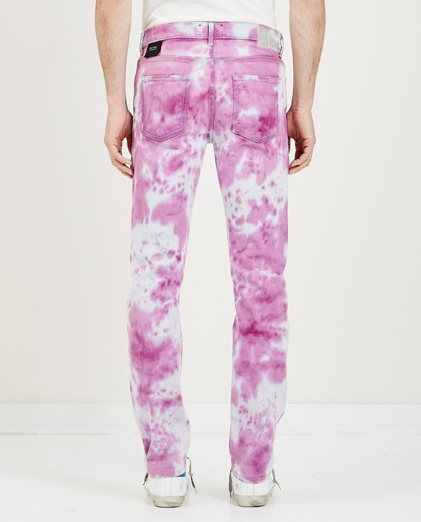 SYNC DENIM-OVER DYE DENIM IN PINK & WHITE-Men Slim-{option1]