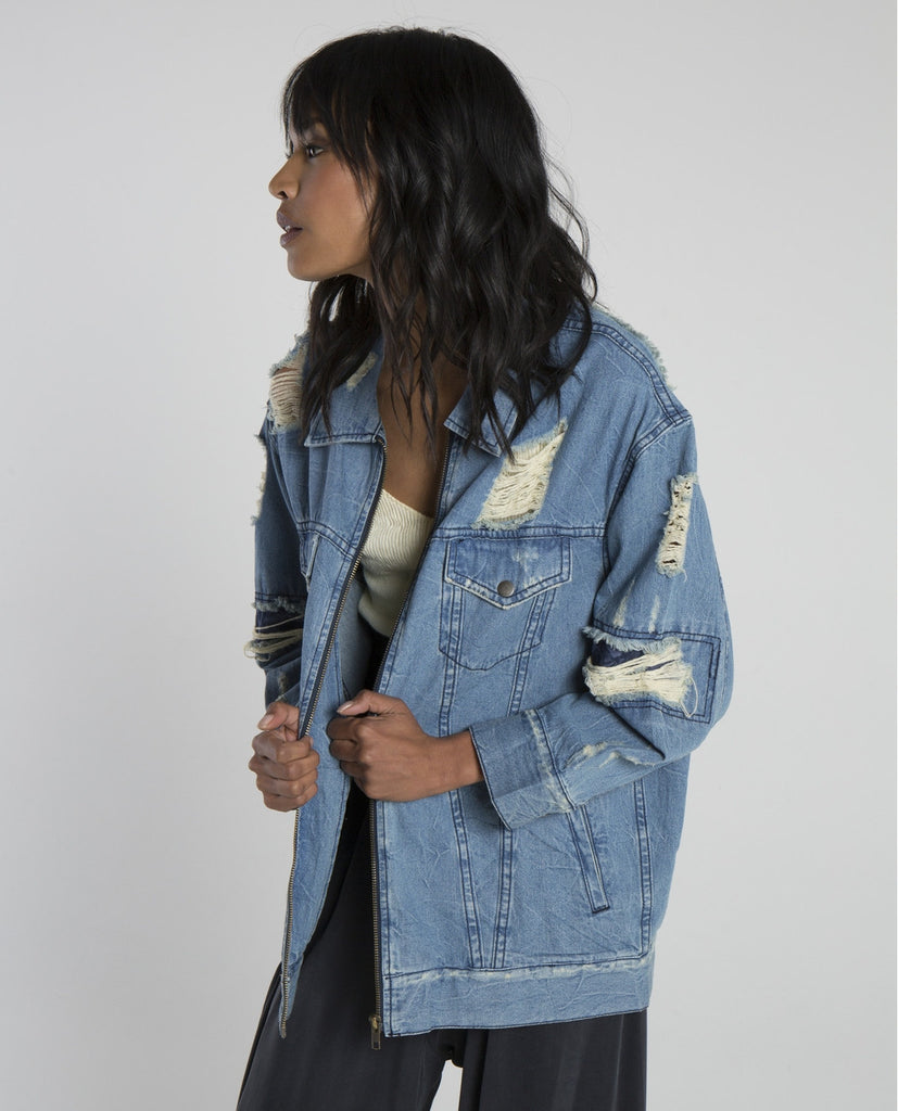 PASTICHE DISTRESSED LOGO JACKET-DRIFTER-American Rag Cie