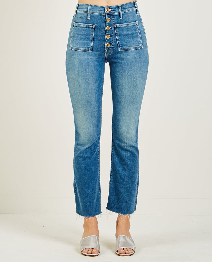 PATCH POCKET HUSTLER ANKLE FRAY JEAN LOVE FOR SAIL-MOTHER-American Rag Cie