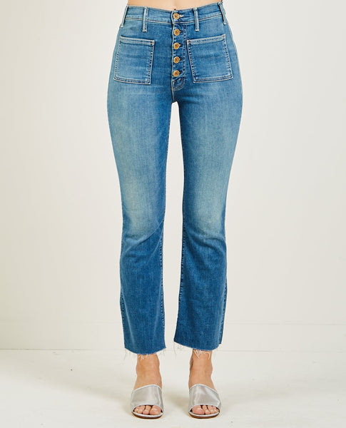 MOTHER PATCH POCKET HUSTLER ANKLE FRAY JEAN LOVE FOR SAIL