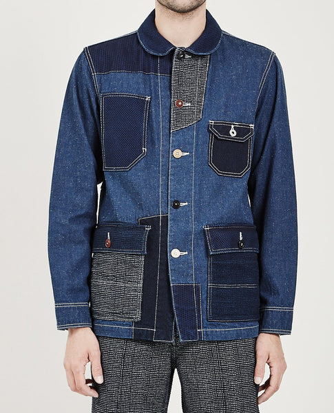 FDMTL PATCHWORK COVERALL RINSE INDIGO