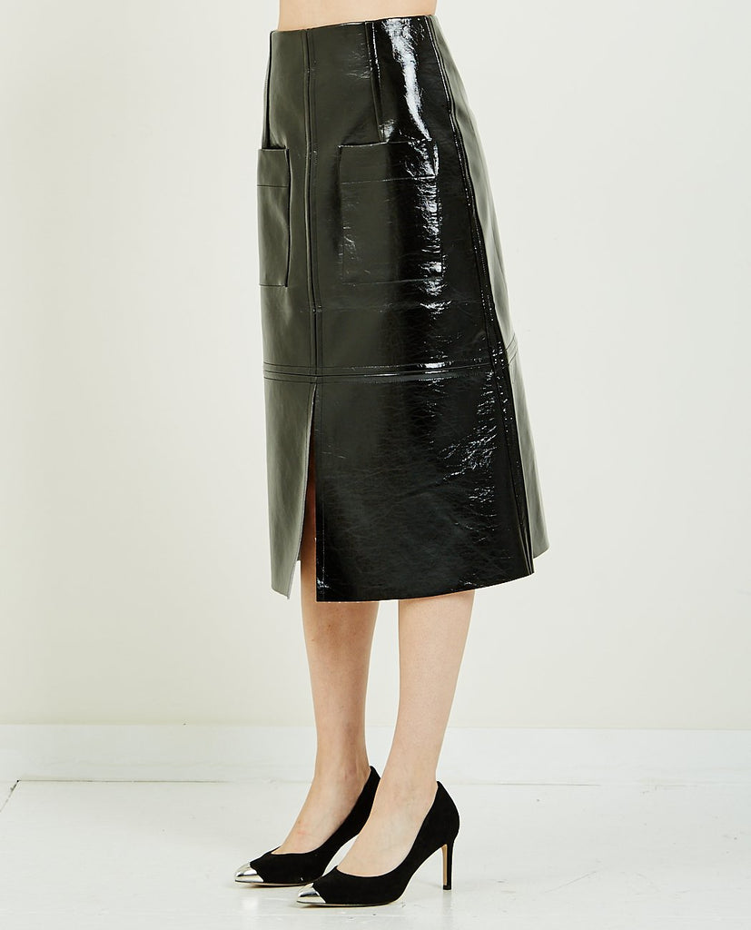 PATENT FAUX LEATHER SKIRT-MIJEONG PARK-American Rag Cie