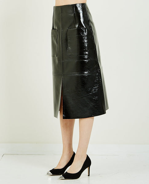 MIJEONG PARK PATENT FAUX LEATHER SKIRT