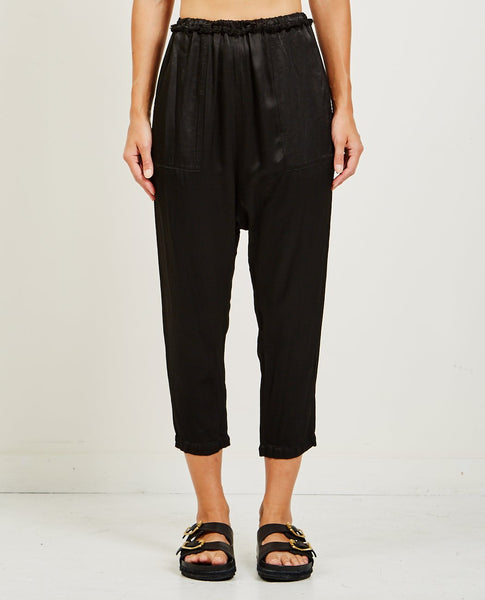 RAQUEL ALLEGRA PEBBLE SATIN DROP CROTCH PANT