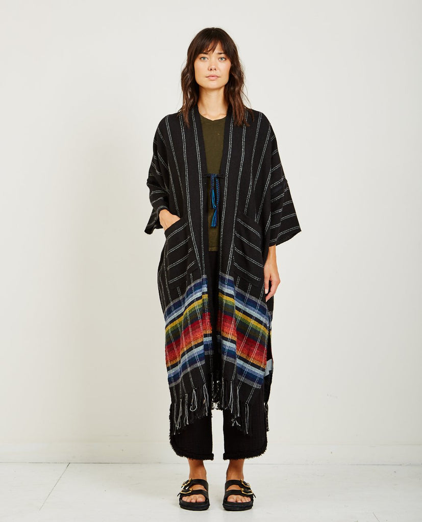 RAQUEL ALLEGRA-PERUVIAN WEAVES MAXI PONCHO-Women Coats + Jackets-{option1]