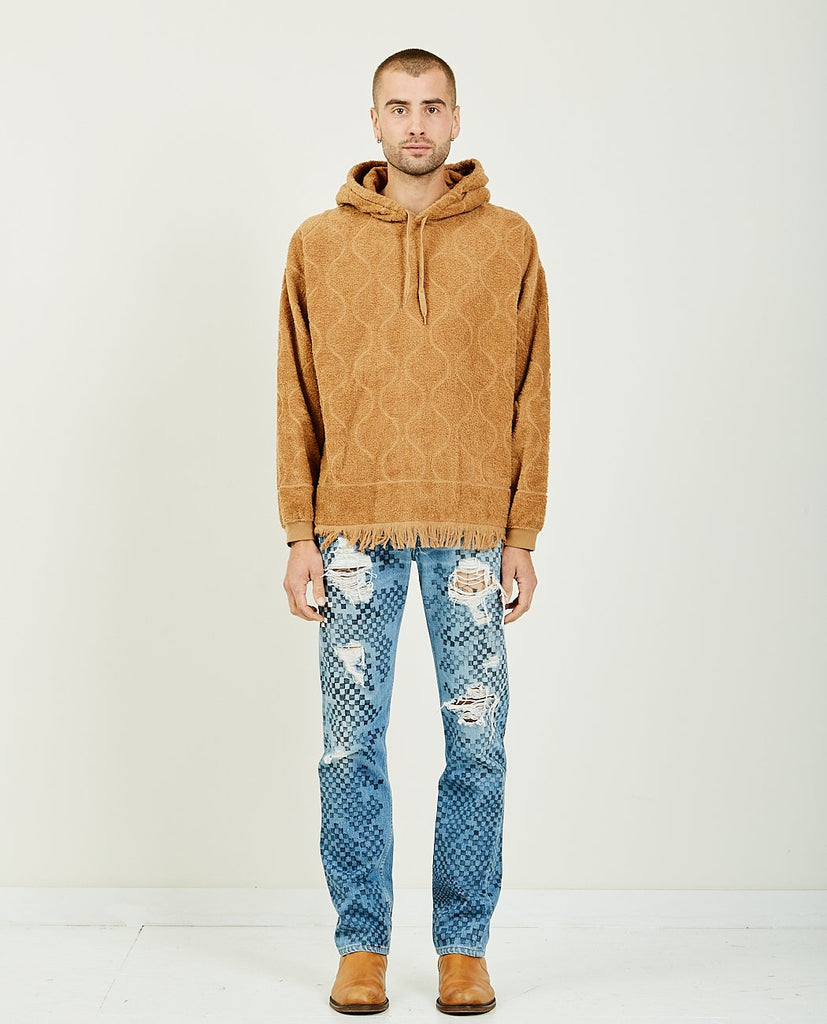 REMI RELIEF-PILE JACQUARD HOODIE WITH FRINGE-Men Sweaters + Sweatshirts-{option1]