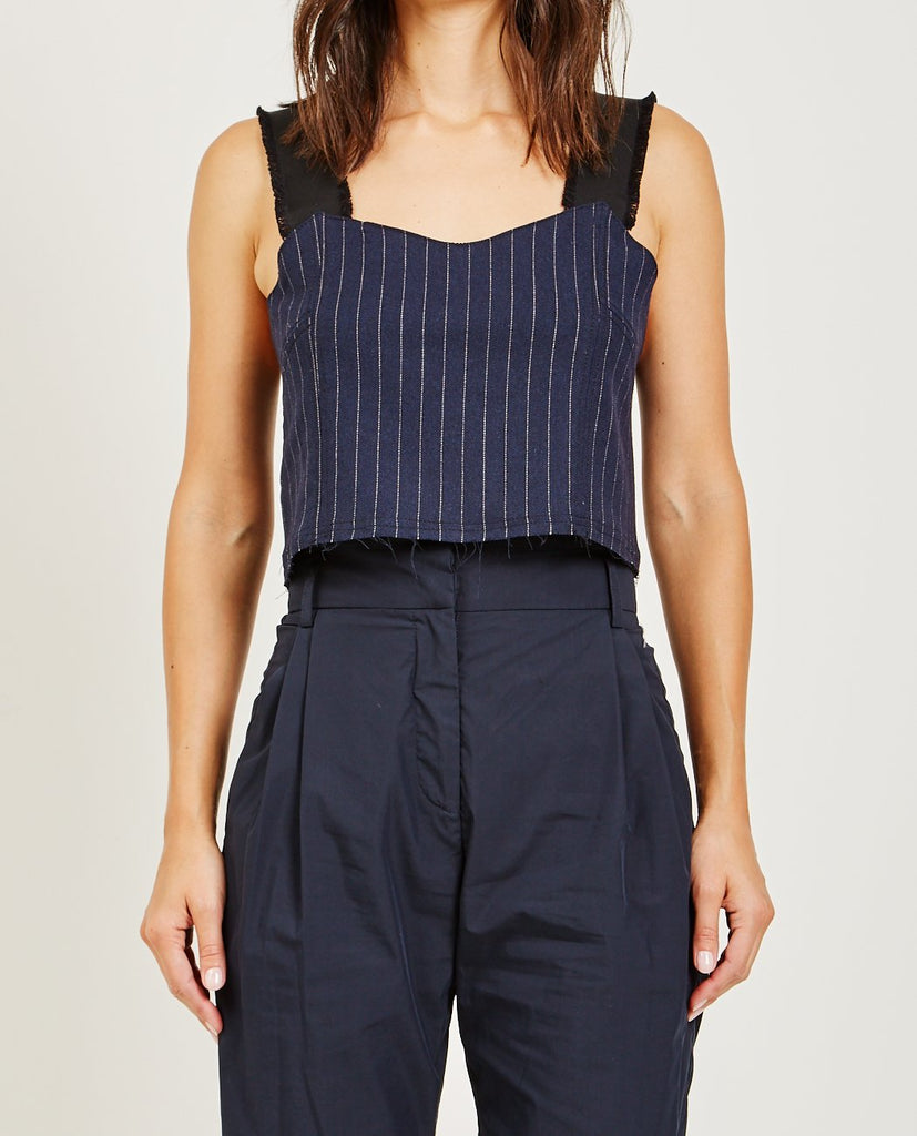 SUZANNE RAE-PINSTRIPE LOOSE CORSET TOP-Blouses-{option1]