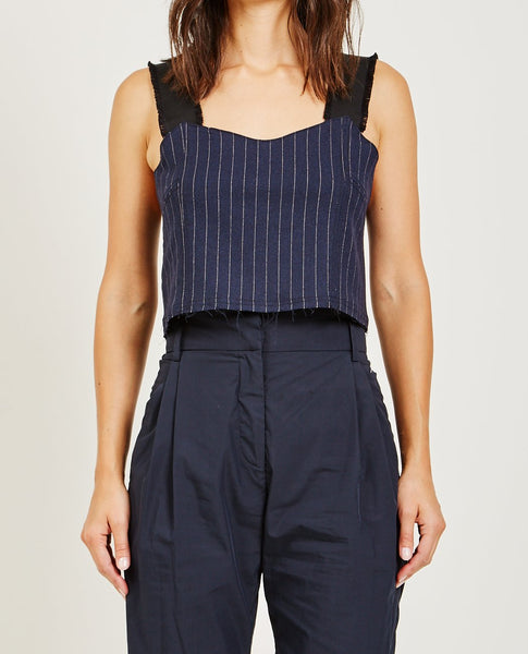 SUZANNE RAE PINSTRIPE LOOSE CORSET TOP