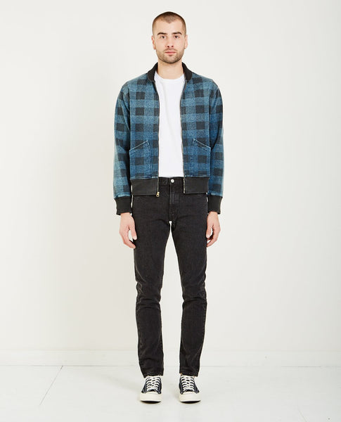 RRL PLAID FLEECE CARDIGAN- WASHED BLUE INDIGO