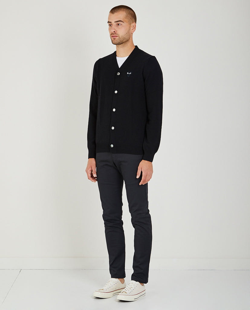 COMME DES GARÇONS PLAY-Play Black Heart Cardigan-Men Sweaters + Sweatshirts-{option1]