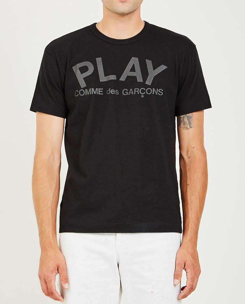 COMME DES GARÇONS PLAY-Play Black Logo Tee-Men Tees + Tanks-{option1]