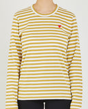 COMME DES GARÇONS PLAY-PLAY LONG SLEEVE STRIPED-TEES + TANKS-{option1]