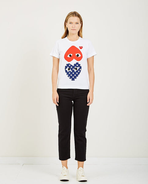 COMME DES GARCONS PLAY PLAY RED HEART AND POLKA DOT HEART T-SHIRT