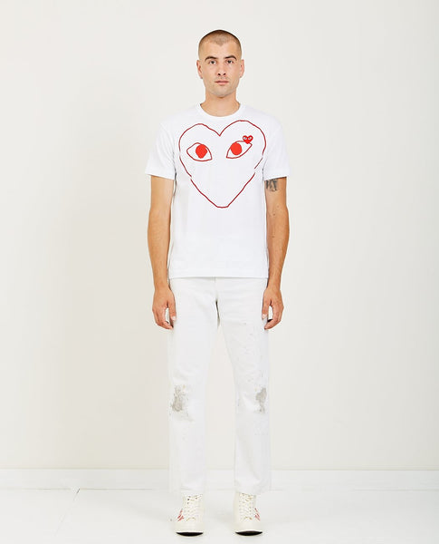 COMME DES GARÇONS PLAY PLAY RED HEART OUTLINE TEE