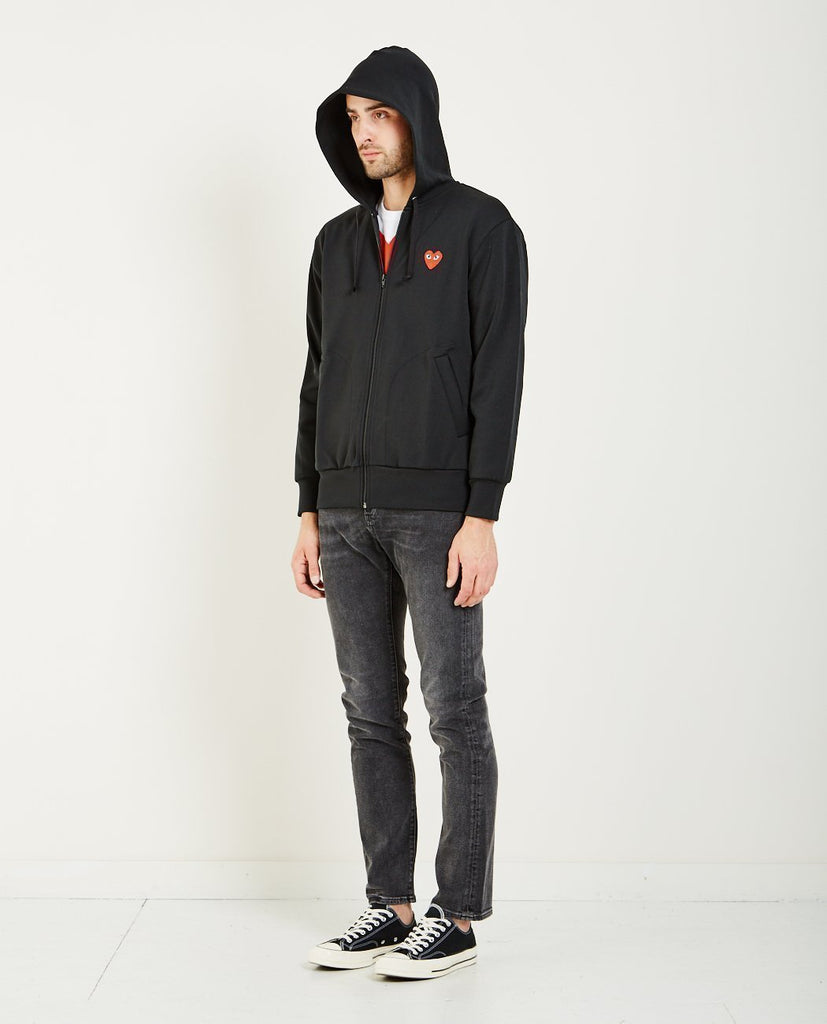 COMME DES GARÇONS PLAY-PLAY RED HEART ZIP HOODIE-Men Sweaters + Sweatshirts-{option1]