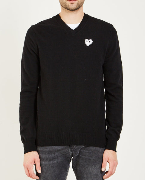 COMME DES GARÇONS PLAY PLAY WHITE HEART PULLOVER