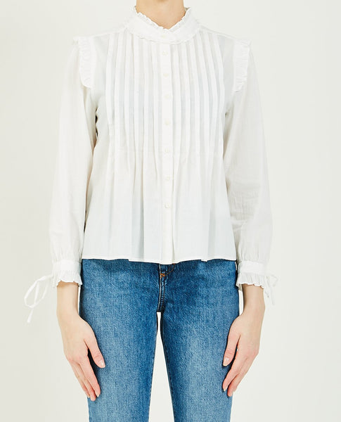 ALEX MILL PLEATED BIB RUFFLE TOP