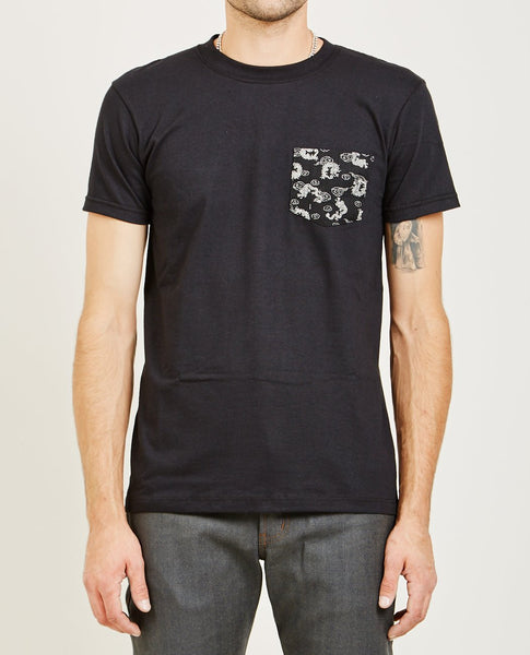 NAKED & FAMOUS POCKET TEE BLACK DRAGON