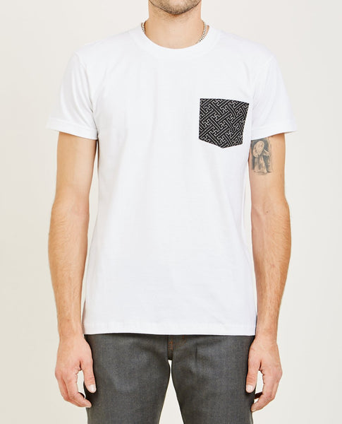 NAKED & FAMOUS POCKET TEE WHITE SASHIKO STITCH