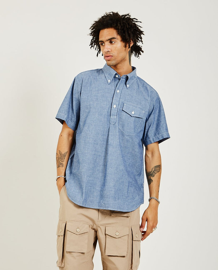 Popover Button Down Shirt Blue-ENGINEERED GARMENTS-American Rag Cie