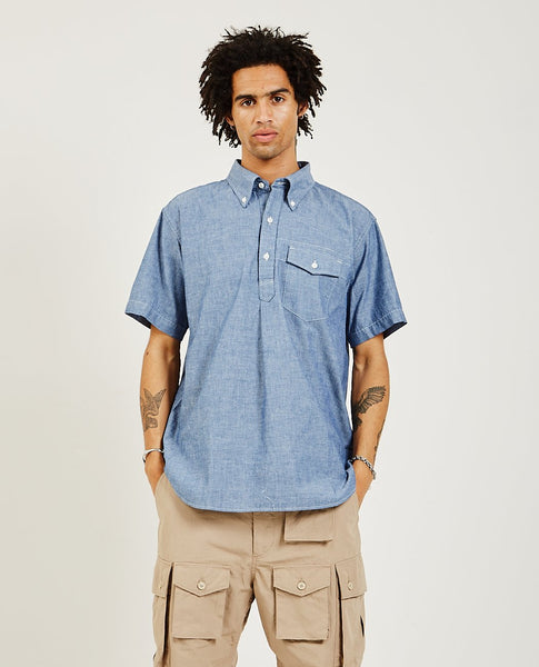 ENGINEERED GARMENTS Popover Button Down Shirt Blue