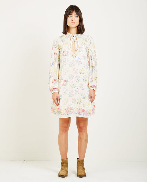SPELL & THE GYPSY POSY LONG SLEEVE MINI DRESS GARDENIA
