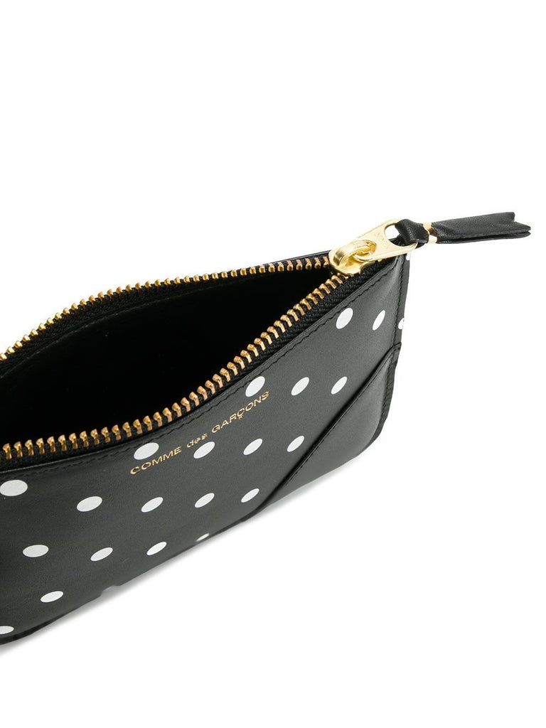 COMME DES GARÇONS WALLET-PRINTED DOTS LEATHER LINE ZIP WALLET-UNISEX BAGS & WALLETS-{option1]
