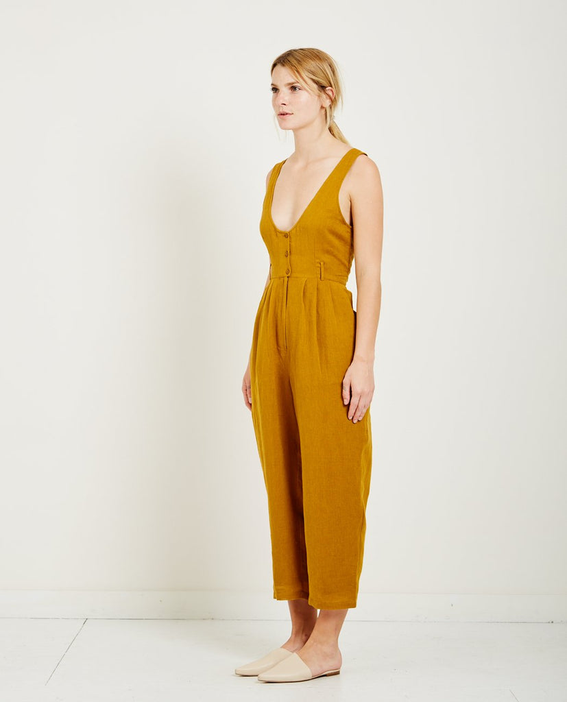 MES DEMOISELLES-RAPHIA BUTTON FRONT JUMPSUIT-All-In-One-{option1]
