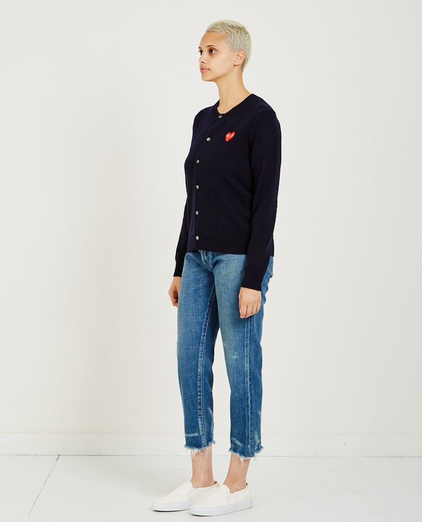 COMME DES GARÇONS PLAY-Red Heart Play Cardigan-Women Sweaters + Sweatshirts-{option1]