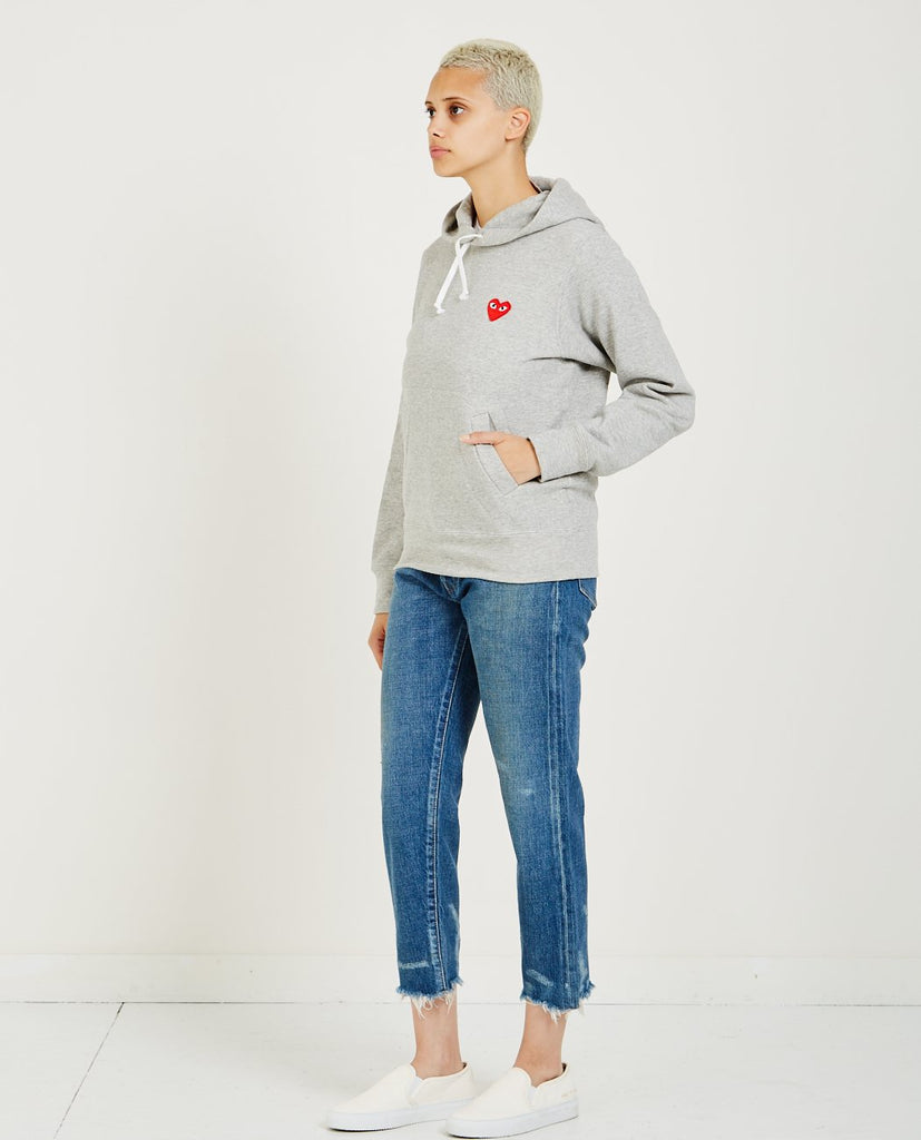 COMME DES GARÇONS PLAY-Red Heart Play Hoodie-Women Sweaters + Sweatshirts-{option1]