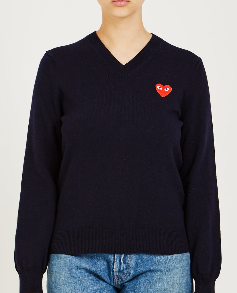 COMME DES GARÇONS PLAY-Red Heart Play V-Neck Sweater-Women Sweaters + Sweatshirts-{option1]