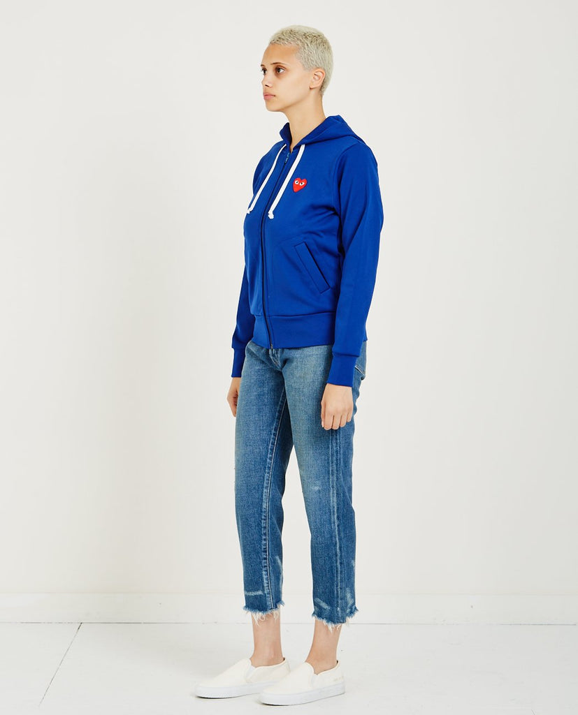 COMME DES GARÇONS PLAY-Red Heart Play Zip Hoodie-Women Sweaters + Sweatshirts-{option1]