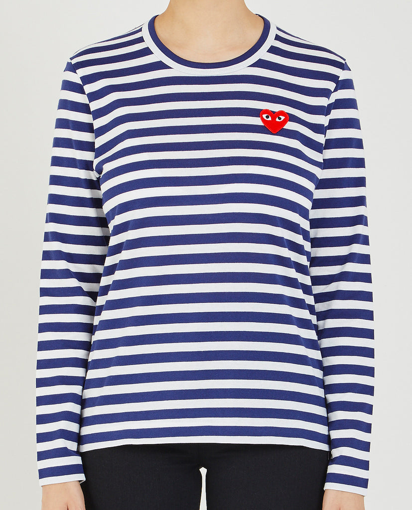 COMME DES GARÇONS PLAY-RED HEART STRIPE TEE-Women Tees + Tanks-{option1]