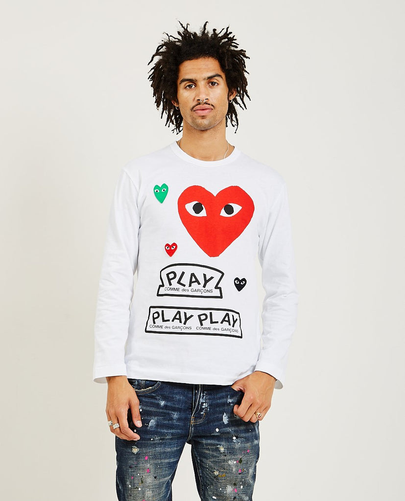 COMME DES GARÇONS PLAY-Red Multi Heart Long Sleeve Tee-Men Tees + Tanks-{option1]