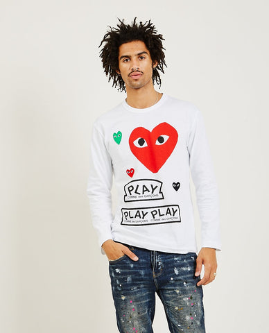 COMME DES GARÇONS PLAY Stacked Red Heart Long Sleeve Tee