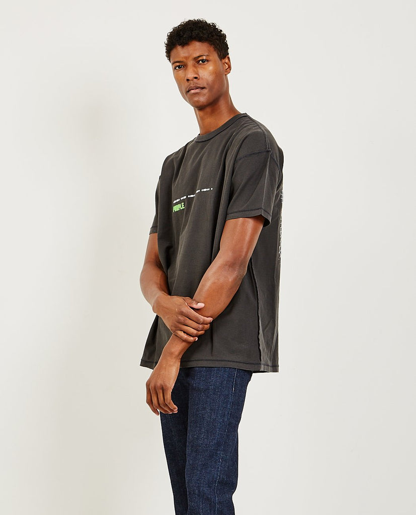 PURPLE BRAND CO-Relaxed Fit Tee Grid Black-Men Tees + Tanks-{option1]