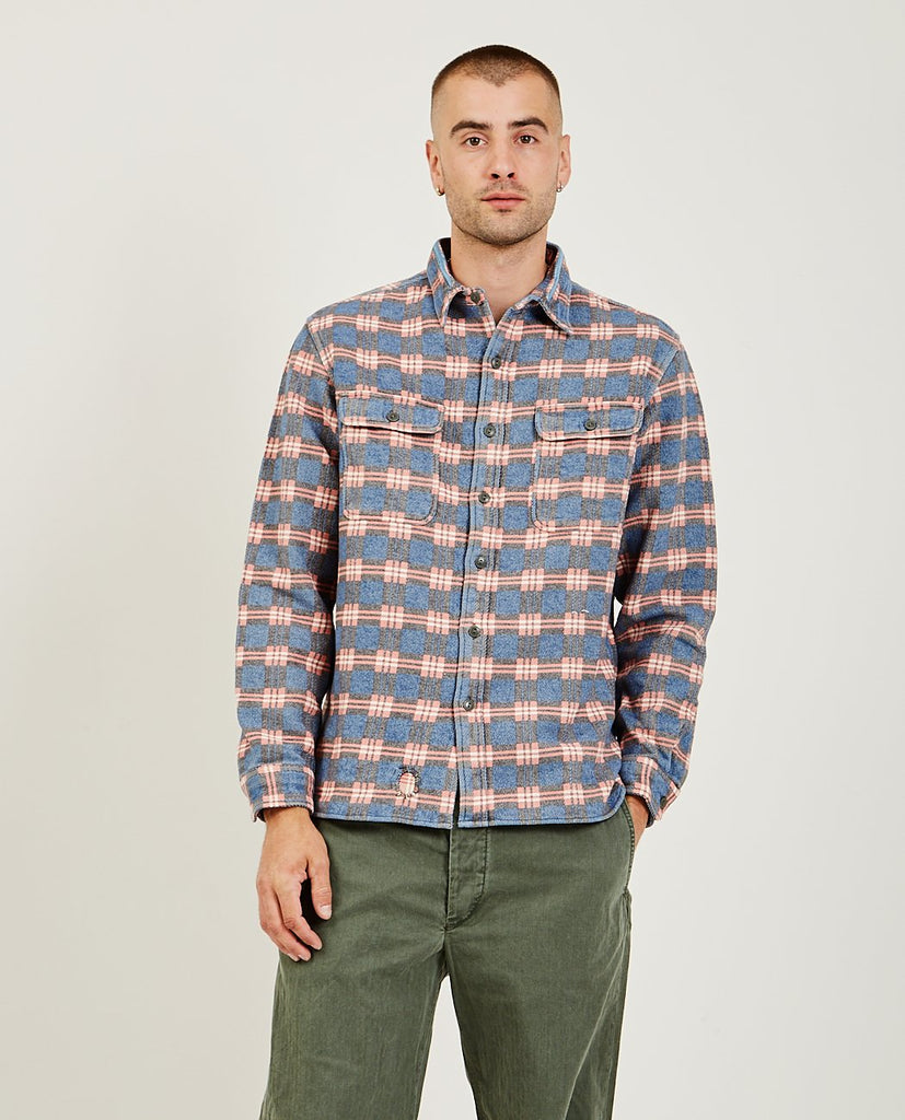 RRL-Repaired Jacquard Workshirt-Men Shirts-{option1]