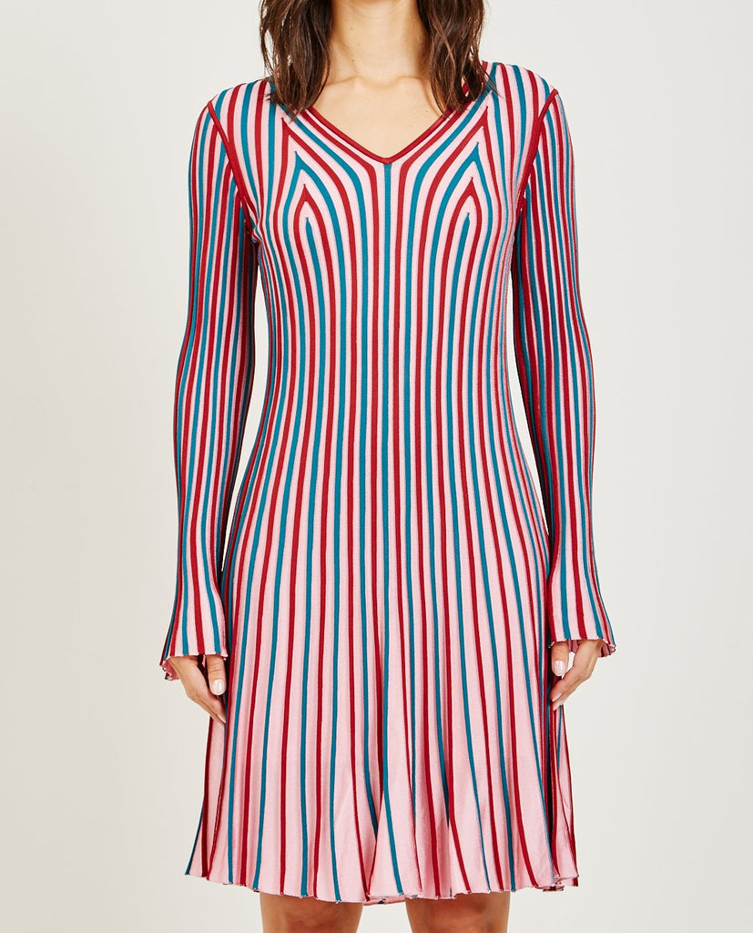 KENZO-RIB KNIT FLARE DRESS-DRESSES-{option1]