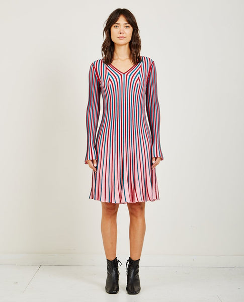KENZO RIB KNIT FLARE DRESS