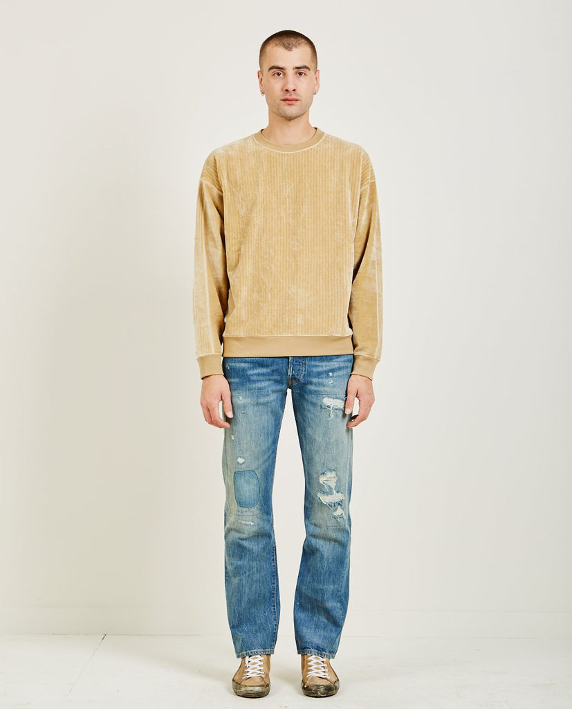 REMI RELIEF-RIBBED VELOUR CREWNECK-Men Sweaters + Sweatshirts-{option1]