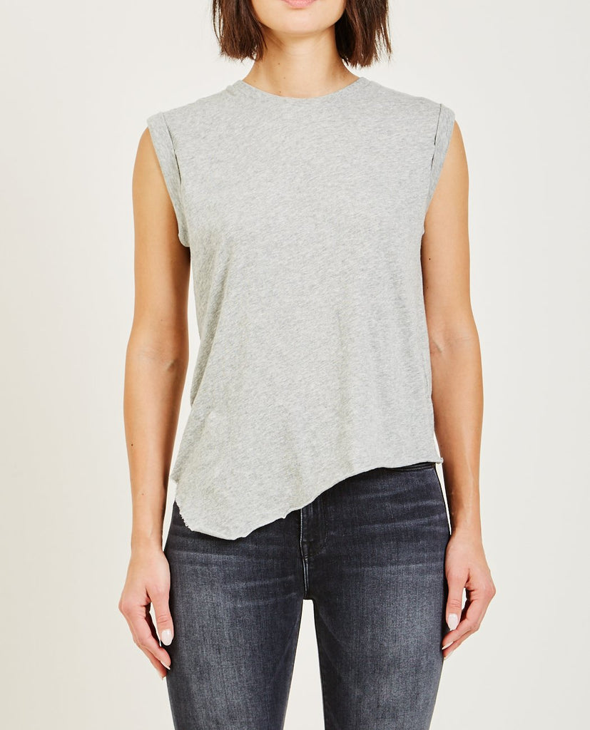 HUDSON-ROLLED SLEEVE TANK HEATHER GREY-Women Tees + Tanks-{option1]