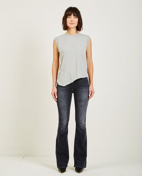 HUDSON ROLLED SLEEVE TANK HEATHER GREY