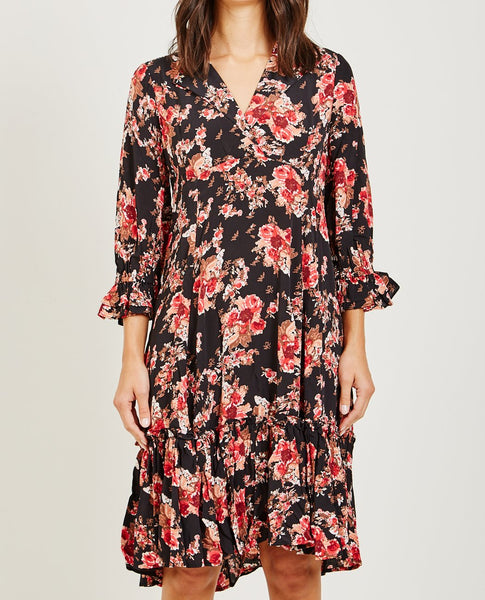 BYTIMO ROSE PRINTED DAY DRESS