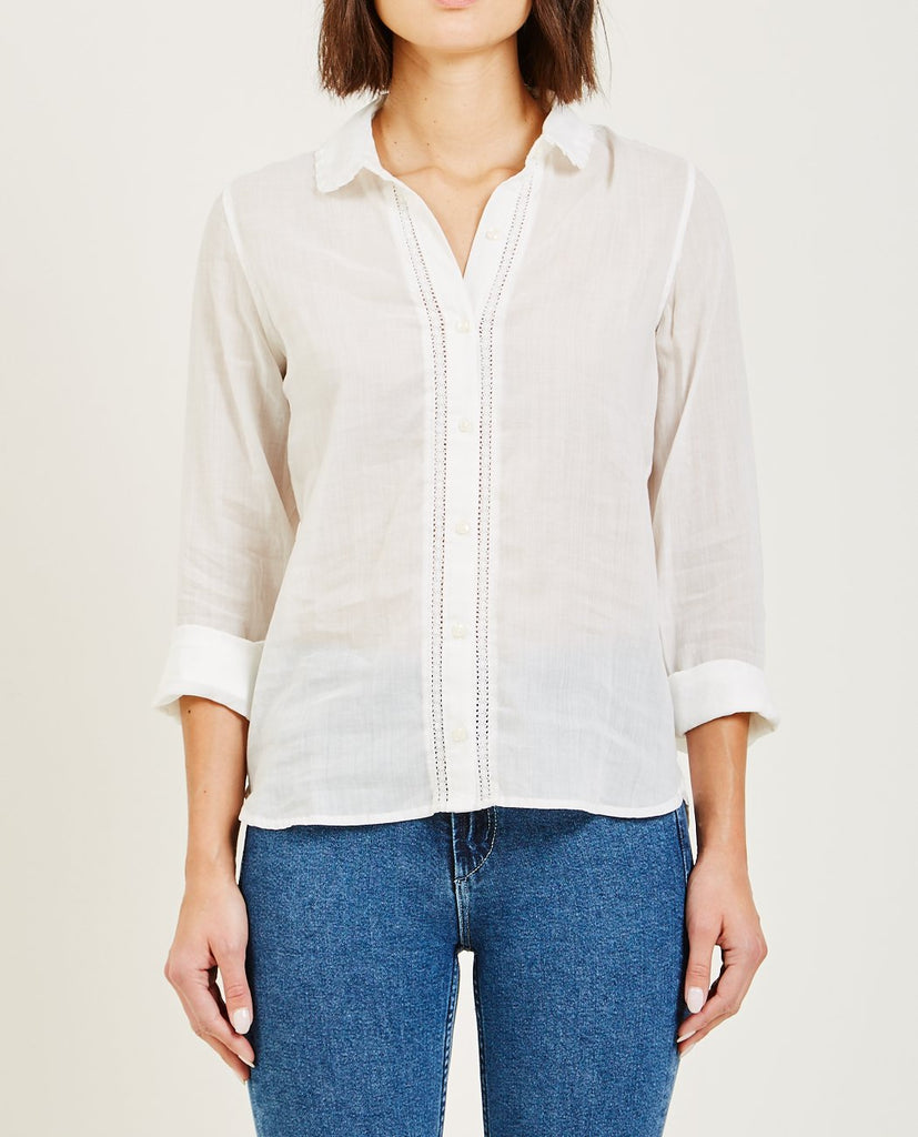 SADIE EMBELLISHED PLACKET SHIRT ANTIQUE WHITE-TROVATA-American Rag Cie