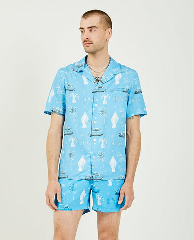 SK MANOR HILL Aloha Shirt Blue Translucent