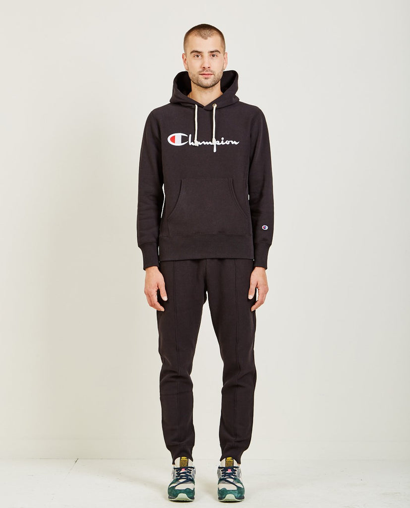 CHAMPION-SCRIPT LOGO REVERSE WEAVE HOODIE-Men Sweaters + Sweatshirts-{option1]