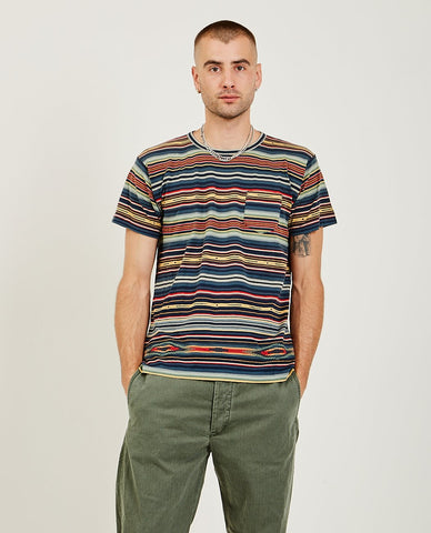 RRL Blanket Stripe Short Sleeve Henley
