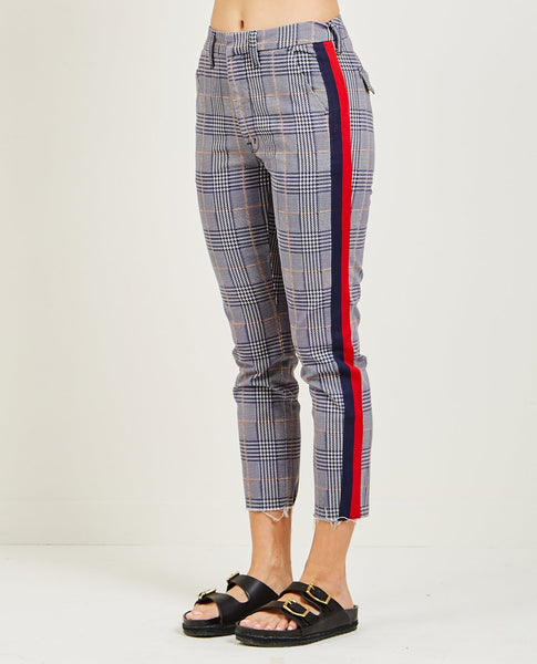 MOTHER SHAKER PREP FRAY CHECK PANT RED & NAVY