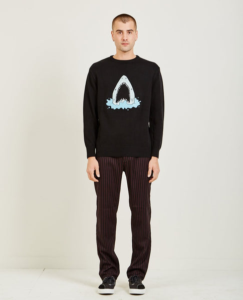 BARNEY COOLS SHARK EMBROIDERED KNIT SWEATER