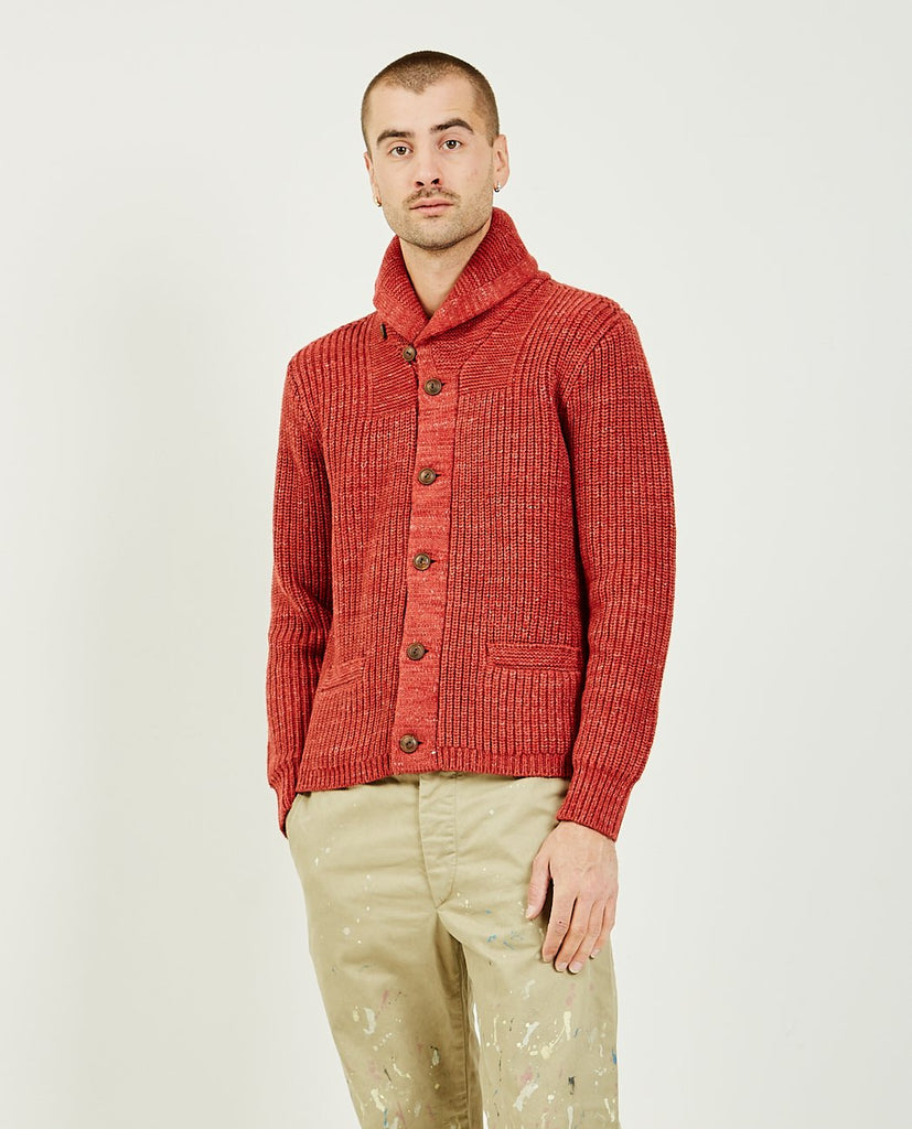RRL-Shawl Cardigan Red-Men Sweaters + Sweatshirts-{option1]